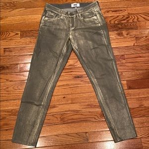 Paige gray gold coated skinny jean size 26